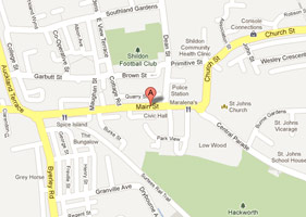 This map shows our location in Shildon as a Dental practice